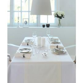 Tischwäsche Uni-Satin Gent breit gesäumt - Weiß