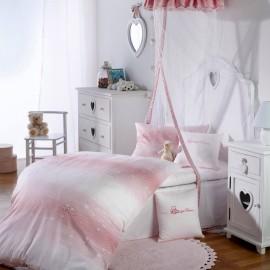 Mako-Brokat-Damast Bettwäsche, Dessin 2485 Herzchen Rosa